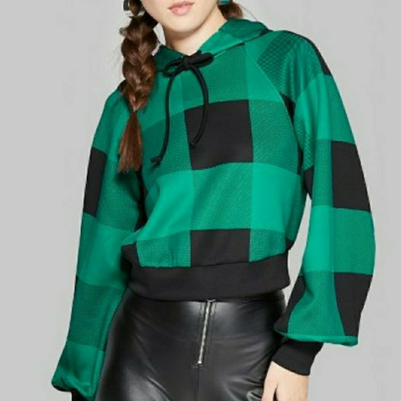 WILD FABLE Crop Plaid Sweatshirt Green/Black